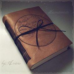 http://www.ardeas.sk/ Hand-bound notebook, leather cover with pyrography decoration, style globe, old look (kožený zápisník zdobený pyrografiou s motívom zemegule, starý vzhľad) handmade bookbinding