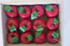 Vintage Christmas Ornaments Boxed Collection Set of 12 Red Apples Hanging Decorations Made in Taiwan 80's Dead Stock