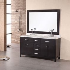 "Design Element 61"" London Stanmark Double Sink Vanity Set in White or Espresso - DEC076A"
