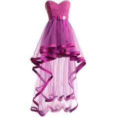 Dresstells Women's Tulle High Low Homecoming Dress Lace Prom Dress ($80) ❤ liked on Polyvore featuring dresses, lullabies, purple cocktail dress, lace cocktail dress, high-low dresses, lace homecoming dresses and purple dress