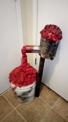 """Meat Grinder - 2 cans of spray foam for the meat/guts and the """"grinder"""" is just an old coffee can with a hole cut into the side that I put an old spray paint can into. Mounted on a scrap chunk of and then bolted onto an old 5 gallon bucket. Halloween Prop, Creepy Halloween Decorations, Halloween Forum, Outdoor Halloween, Halloween Season, Halloween Projects, Halloween 2019, Halloween Themes, Asylum Halloween"""
