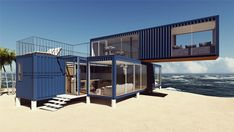3 Prefabricated/Prefab Modular Movable Container House on The Beach., Find Details about Container House, Prefab House from 3 Prefabricated/Prefab Modular Movable Container House on The Beach. - Jiangxi HK Prefab Building Co. Cargo Container Homes, Shipping Container Home Designs, Building A Container Home, Container Buildings, Container Architecture, Container House Plans, Shipping Containers, 40ft Container, Container Pool
