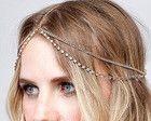 Tiara head chain noivas dourada strass