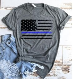 Police Shirt / Police USA Flag Shirt / Tank Top / Police Wife / Law Enforcement / Thin Blue Line/ Blue Lives Matter / Police Officer Shirt by TeeKittyKitty Back The Blue Shirt, Police Girlfriend, Cop Wife, Police Wife Life, Police Shirts, Emt Shirts, Thin Blue Lines, Graphic Tee Shirts, Tank Top Shirt