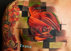 Fish by Ivana Belakova #InkedMagazine #fish #tattoo #tattoos #chest #ink