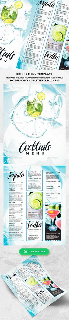 Cocktail Drinks Menu Template PSD. Download here: http://graphicriver.net/item/cocktail-drinks-menu/16556356?ref=ksioks