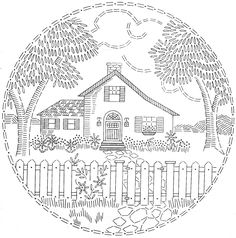 Vintage Embroidery Patterns embroidery pattern house fence trees - No envelope with this one. Hungarian Embroidery, Brazilian Embroidery, Crewel Embroidery, Hand Embroidery Patterns, Vintage Embroidery, Ribbon Embroidery, Cross Stitch Embroidery, Machine Embroidery, Embroidery Designs