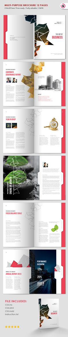 12 pages InDesign template can be adapted to be any purpose with single color…