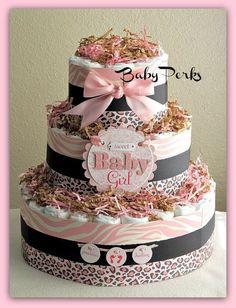 Cheetah Safari Baby Shower Cakes | cheetah print diaper cake ideas and designs
