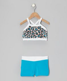 Take a look at this Blue & Brown Leopard Crop Top & Turquoise Shorts - Girls by Elliewear on #zulily today!