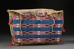 "Central Plains | buffalo hide + glass & tin cone beads | 18"" x 13"" | U.S.A. | c. 1900"
