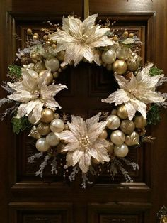 Christmas Wreath Ivory and Gold Christmas Wreath in 24 inch diameter Christmas Ornament Wreath, Christmas Wreaths To Make, Holiday Wreaths, Poinsettia Wreath, Silver Christmas Decorations, Gold Christmas, Beautiful Christmas, Classy Christmas, Holiday Crafts