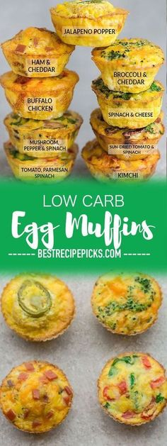 Low Carb Egg Muffin make the perfect breakfast for on the go. Theyre packed with protein and so convenient for busy mornings. Low Carb Egg Muffin make the perfect breakfast for on the go. Theyre packed with protein and so convenient for busy mornings. Breakfast And Brunch, Perfect Breakfast, Healthy Breakfast With Eggs, Breakfast Egg Cups, Breakfast Ideas With Eggs, Keto Breakfast Muffins, Omlet Muffins, Frittata Muffins, Healthy Low Carb Breakfast