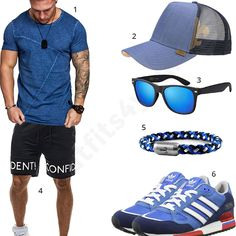 Schwarz-Blaues Männer-Outfit mit Amaci&Sons Shirt, Djinns Cap, blauer Sonnenbrille, Fischer's Fritze Armband, Bolf Shorts und Adidas Schuhen. #outfit #style #fashion #menswear #mensfashion #inspiration #shirts #weste #cloth #clothing #männermode #herrenmode #shirt #mode #styling #sneaker