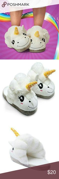 NWT LOVELY WHITE UNICORN PLUSH SLIPPERS Fits one size 36-41 I believe 5-8 US Super cute and comfy Great for kids and adults  Shoes Slippers