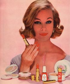 From an 1960 ad for Avon's Cherry Ice cosmetics line. #vintage #makeup #1960s