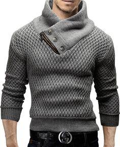 Merish-jersey-de-punto-slim-fit-sueter-cuello-bufanda-capucha-chaqueta-de-punto-nuevo-mix