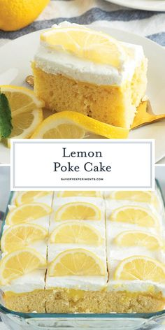 BEST Lemon Poke Cake Recipe – Ultimate Lemon Cake Recipe This deliciously moist BEST Lemon Poke Cake recipe is perfect for any occasion! It's made easy thanks to a boxed cake mix and instant pudding! Lemon Dessert Recipes, Poke Cake Recipes, Lemon Recipes, Poke Recipe, Baking Recipes, Dessert Simple, Poke Cakes, Cupcakes, Cupcake Cakes