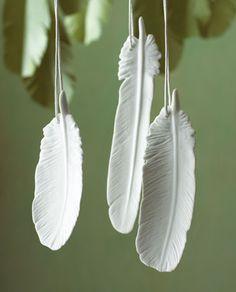 ceramic feather ornaments