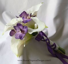 purple and white calla lilies   White, purple, bouquet, Real Touch flowers, orchids, calla lilies ...