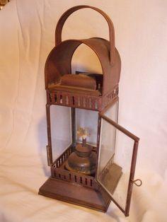 copper oil lantern lamp vintage glass panel
