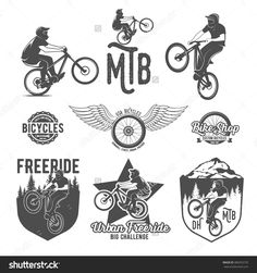 Set of vintage and modern biking shop logo badges and labels. biking silhouette,mountain bike wheel,biking and riding,biking jump, mountain bike rider, extreme mtb vector template.
