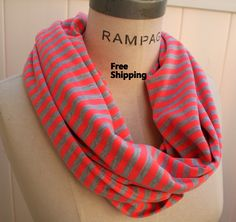 Orange Grey Infinity Scarf Women Scarves Freen Shipping Scarfs  Retro Stripes Scarf- By PIYOYO. $20.99, via Etsy.