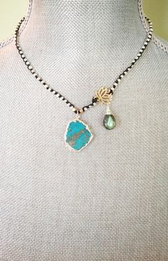 Turquoise Slice Pendant Necklace with Sterling by CJCjeweldesigns, $99.00