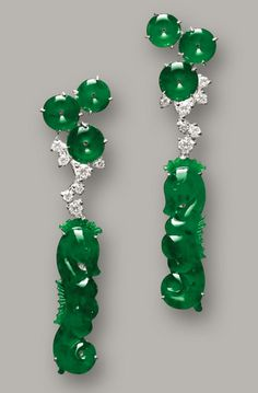 Seahorse Jade and Jadeite Earring with 18k white gold and diamonds apprx $30k