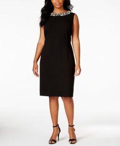 Calvin Klein Plus Size Sleeveless Pearl-Bead-Trim Sheath | macys.com