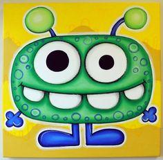 gREEN mONSTER - 12x12 original painting on canvas, for nursery or kids room, monster art, cute monsters via Etsy
