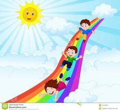 Kids cartoon Sliding Down a Rainbow vector art illustration Cartoon Pics, Cartoon Characters, Free Vector Graphics, Vector Art, Happy Kids, Crafts For Kids, Children Crafts, Craft Projects