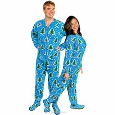 392b0426c754 Christmas Trees and Snow Adult Footed Pajamas with Drop Seat
