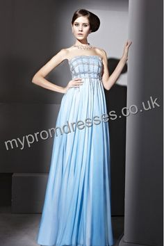 Floor Length Strapless Blue Chiffon A-line Evening Dress  http://www.mypromdresses.co.uk