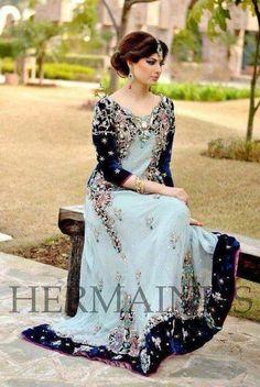 Blue Maxi Dress Pakistani Wedding Formal Chiffon