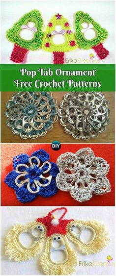 Crochet Pop Tab Christmas Ornament Free Patterns: Crochet Pull tab Santa, Christmas tree, bells, snowflakes and flowers, soda tab crochet projects