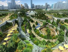 Parc Central is a planned Architecture and Interior Design development Masterplanned by Benoy. Landscape Architecture Design, Green Architecture, Futuristic Architecture, Parque Linear, Public Space Design, Urban Park, Parking Design, Urban Planning, Urban Landscape