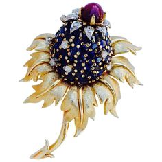 Jean Schlumberger Tiffany & Co. Gold Sapphire Diamond Ruby Thistle Brooch | From a unique collection of vintage brooches at https://www.1stdibs.com/jewelry/brooches/brooches/
