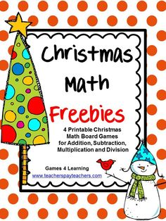 FREEBIES - Christmas Math Freebie by Games 4 Learning contains 4 printable Christmas Math Board Games. These free Christmas math games are perfect for keeping students busy in the lead up to Christmas. And best of all they will be challenged and engaged while using their math skills for these fun Christmas math activities.