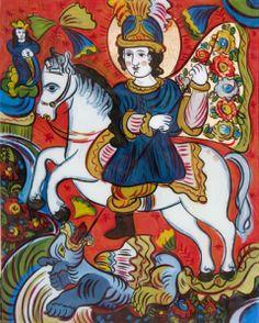 St George - old Ukrainian folk glass icon… Forest Illustration, New Mexican, Biblical Art, Byzantine Art, Antique Glass, Folk Art, Religion, Arts And Crafts, Stock Photos
