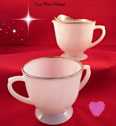 Fire King Creamer Sugar Bowl Set of Two Milk by EauPleineVintage