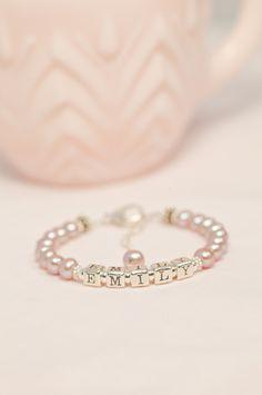 Personalized name keepsake pearl bracelet from Little Girl's Pearls!