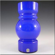 Lindshammar / JC 1970's Swedish Blue Hooped Glass Vase - £79.99