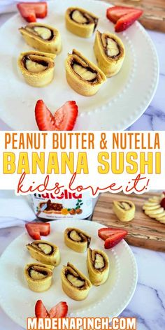 With three growing (hungry!) boys, quick and healthy snacks are essential in our house. These Peanut Butter, Nutella & Banana Sushi Rolls are delicious, healthy, filling and SO quick to make! This banana sushi idea was inspired by a dessert at one of our favorite Japanese quick dining restaurants. Their version is just rolled bread and Nutella, though, so I had to up my game to make it a healthy snack! | Made in A Pinch @madeinapinch #bananasushi #kidsnsnack #healthykidssnack #madeinapinch Sushi Recipes, Snack Recipes, Dessert Recipes, Kitchen Recipes, Easy Recipes, Filling Snacks, Easy Snacks, Healthy Snack Options, Healthy Snacks