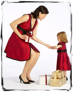 mom and daughter dining dress