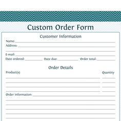 instant download small business mini order forms size 5x7 2
