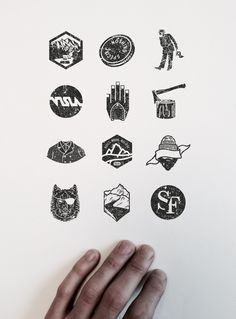 VISLA Graphic - illustration and logo design  --  river / coin / flag man / hand / wood axe / suit / beard / mountains / wolf / river