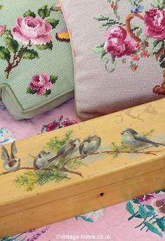 Vintage Home Shop - Edwardian Hand Painted Birds on a Bough Boudoir Box: www.vintage-home.co.uk