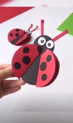 With some stock paper, glue you can make your own Little Ladybug Paper for all occasions. Animal Crafts For Kids, Summer Crafts For Kids, Halloween Crafts For Kids, Craft Activities For Kids, Toddler Crafts, Preschool Crafts, Art For Kids, Spring Crafts, Kid Art