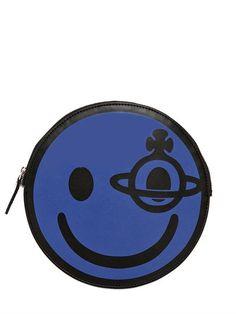 VIVIENNE WESTWOOD - HAPPY BAG FAUX LEATHER POUCH - BLUE/BLACK